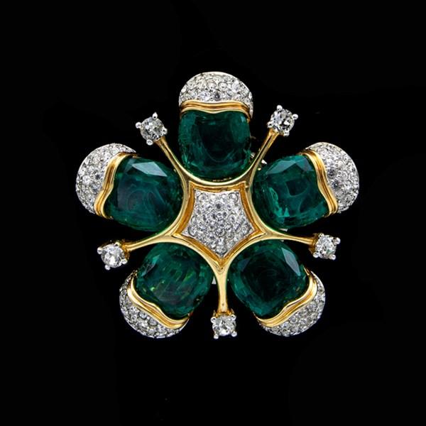 Jomaz Stylized Emerald Paste Flower Brooch, 1975