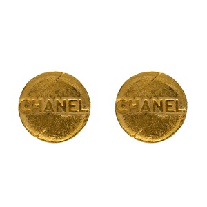 "Chanel 1 9/16"" Distressed & Embossed Earrings, Spring 1993"
