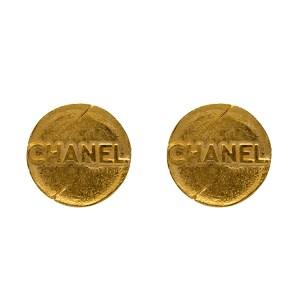 "Chanel 1 9/16"" Distressed & Embossed Earrings, Spring 1993"