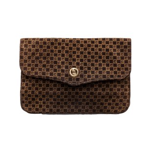 Gucci Brown Suede GG Logo Print Clutch