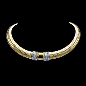 "Ciner 16 1/2"" Gilt Ribbed Gashose Collar Necklace with Gold & Pave Front Panels, 1980"