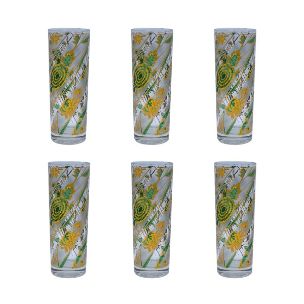 Culver Green & Gold Frosted Botanical Botanical Tom Collins Glasses