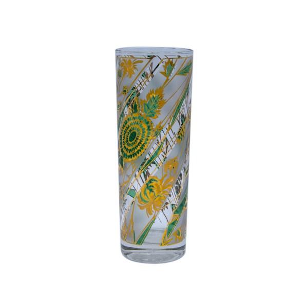 Culver Green & Gold Frosted Botanical Botanical Tom Collins Glasses