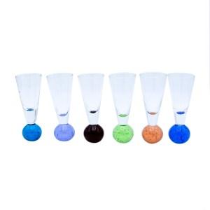 Mid Century Hand Blown Bubble Bottom Apertif Glasses, Set of Six (6)