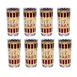 Culver 22k Gold Cranberry Scroll Highball Glasses, Set of Eight (8)