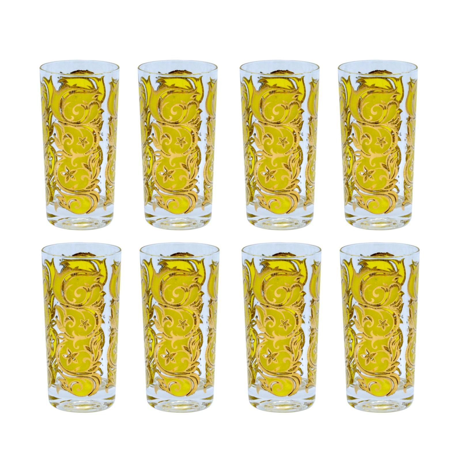 Mid Century Yellow & 22k Gold Filigree Pattern Highball Glasses, Set of Eight (8)