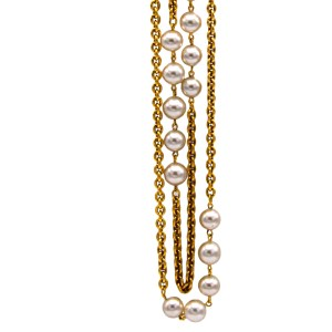 Chanel 33 3/4″ Double Strand Alternating Gilt Oval Link Chain & Pearls