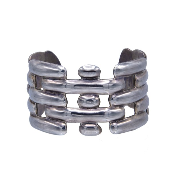 Vintage Taxco Alternating Blocks Cuff Bracelet