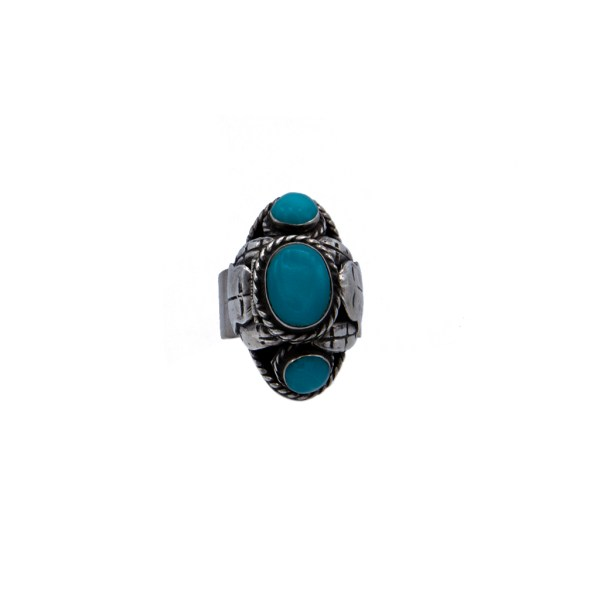 Product photo front view of Vintage Taxco Sterling & Turquoise Poison Ring, circa 1960