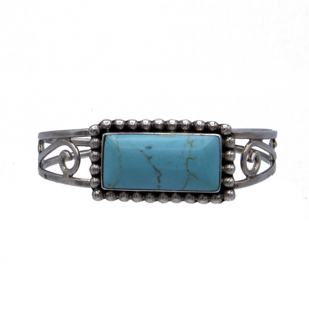 Product photo for Vintage Taxco Sterling & Turquoise Openwork Tapered Bangle