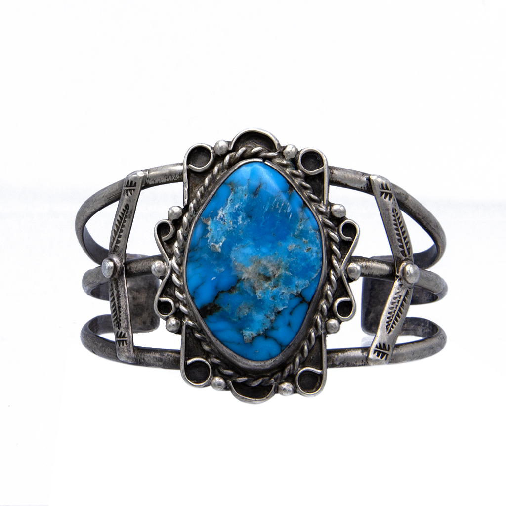 Product Photo for Vintage Navajo Large Turquoise Cabochon Cuff Bracelet