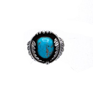 Product Photo of Vintage Native American Large Chunky Sterling & Turquoise Ring, 1970