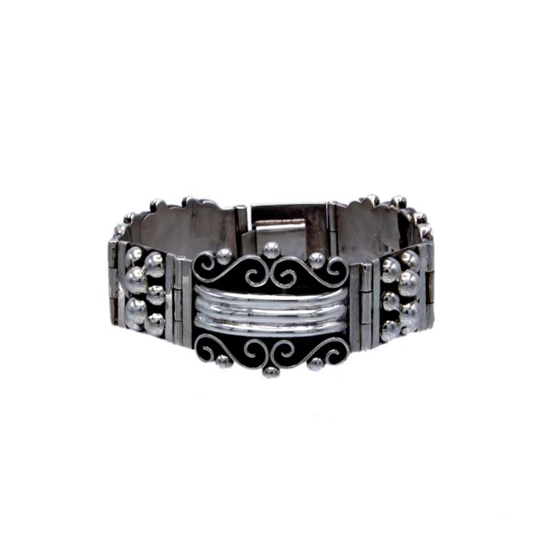 Vintage Taxco Sterling Dots & Scrolls Link Bracelet, 1980s