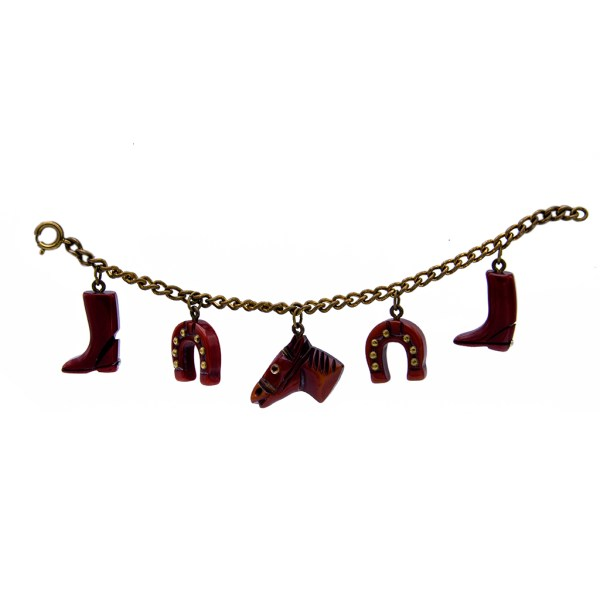 Product Photo for Bakelite Blood Red Equestrian Charm Bracelet, 1945