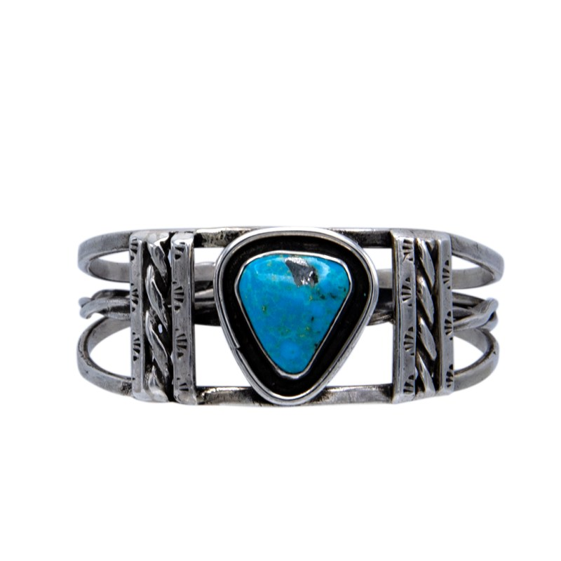 Product Photo of Navajo Sterling & Turquoise Cuff Bracelet, Pre-1970