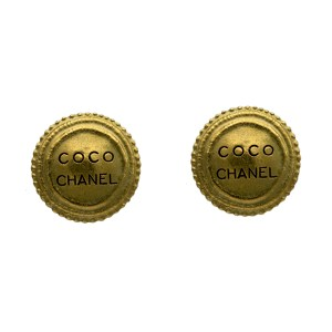 """Chanel 1 1/4"""" Gilt Dome Earrings with Black Enamel COCO CHANEL, Autumn 1994"""