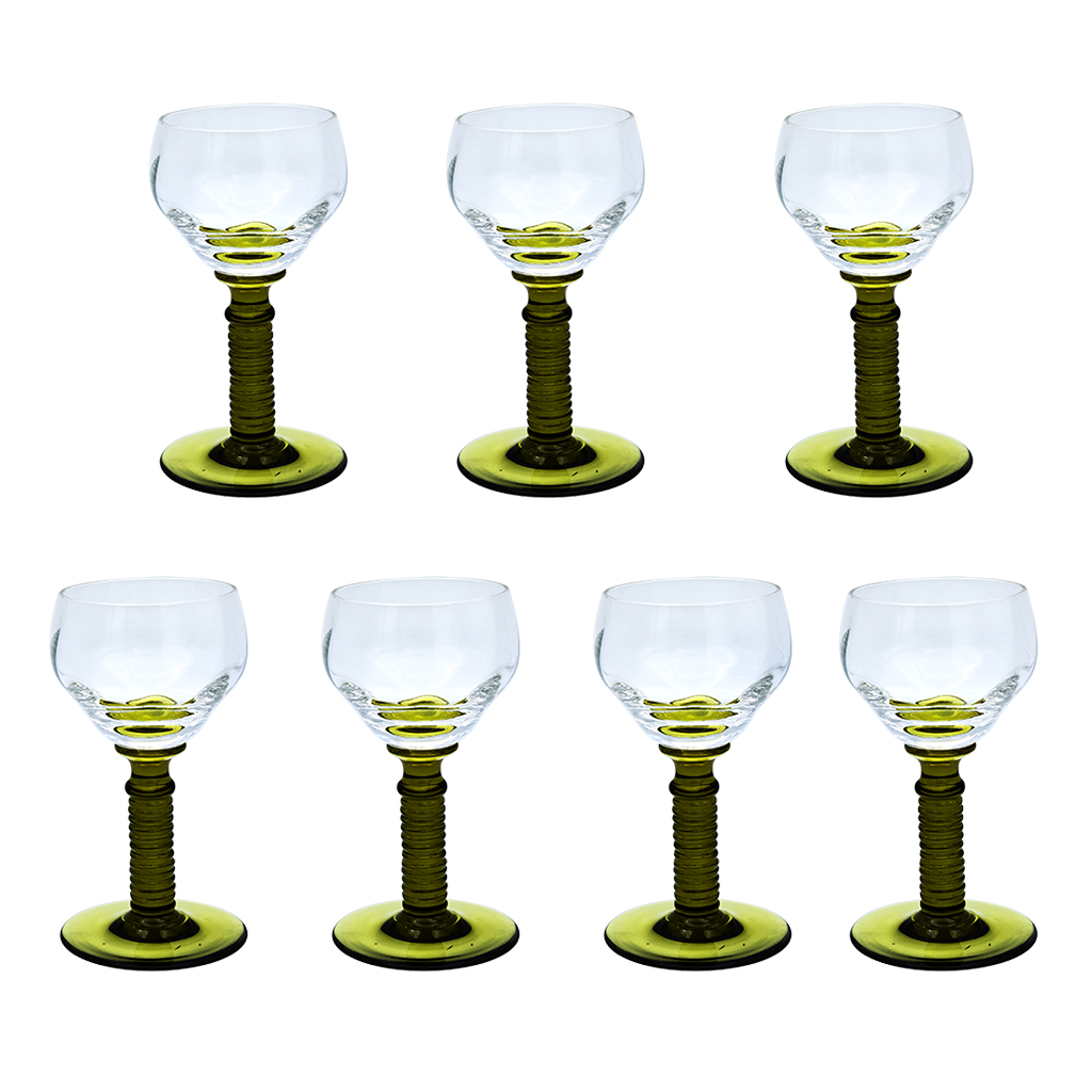 Product photo for Art Deco Green Stemmed Hand Blown Wine Glasses, Set of Seven (7)