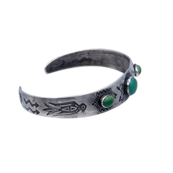 Product Photo Side View of Vintage Native American Tapered Sterling Bracelet with Green Turquoise, 1950