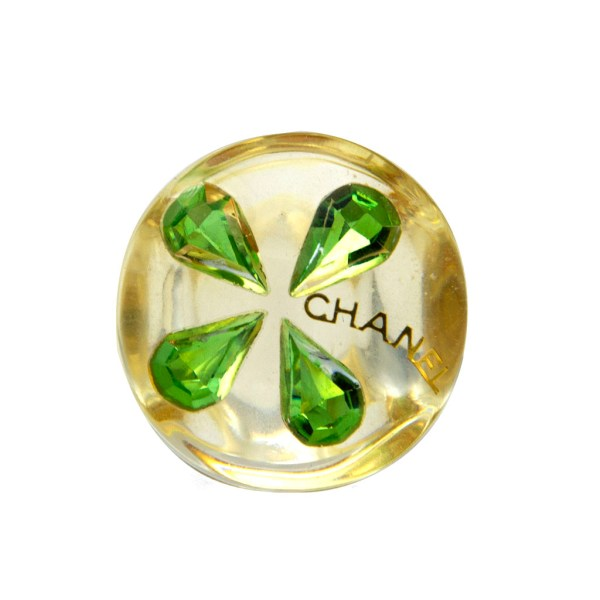 Chanel Acrylic Ring with Peridot Clover & Gilt Chanel Letters