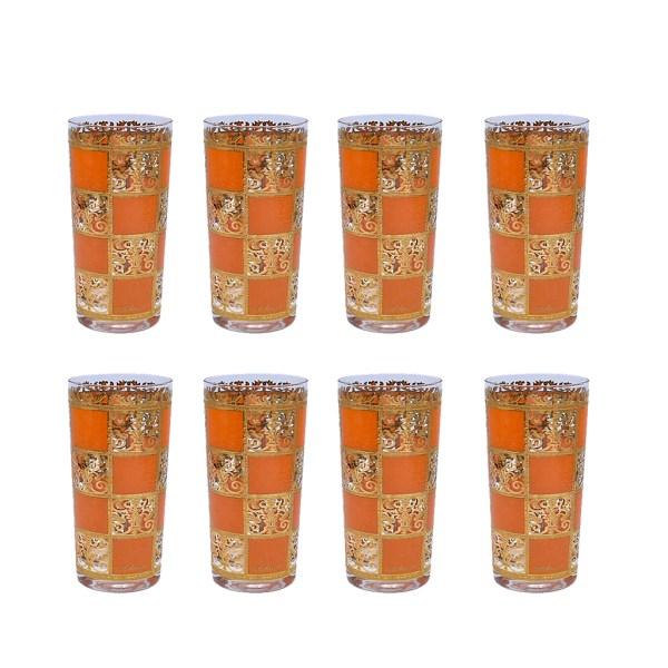 "Culver Orange & 22k Gold ""Prado"" Highball Glasses, Set of Eight (8)"