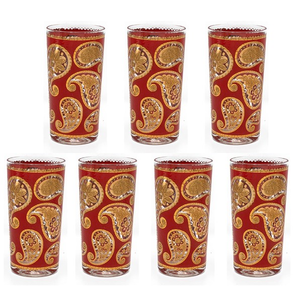 "Culver ""Red Paisley"" Red & 22k Gold Highball Glasses, Set of Seven (7)"