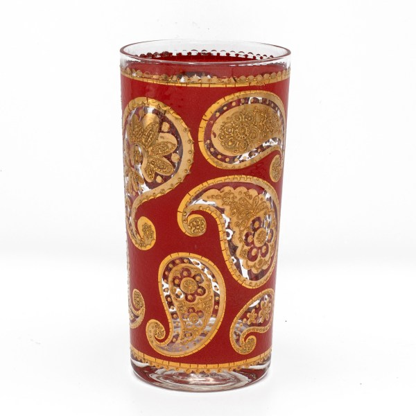 """Culver """"Red Paisley"""" Red & 22k Gold Highball Glass"""