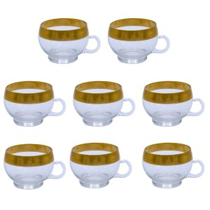 Dorothy Thorpe 22k Gold Rimmed Punch Cups, Set of Eight (8)