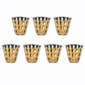 """Culver """"Pisa"""" 22k Gold Double Old Fashioned Glasses, Set of Seven (7)"""