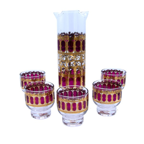 """Culver """"Cranberry Scroll"""" Footed Martini Glasses with Pitcher, Set of Five (5)"""