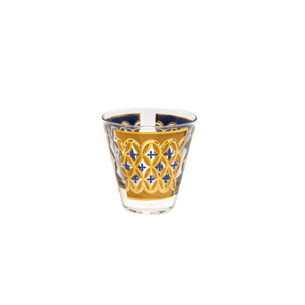 Culver 22k Gold & Blue Small Old Fashioned Glass