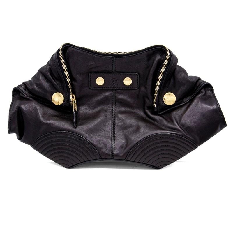 Alexander McQueen Biker Look Black Leather Manta Clutch