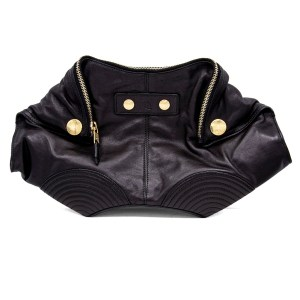 Alexander McQueen Biker Look Black Leather Manta Clutch
