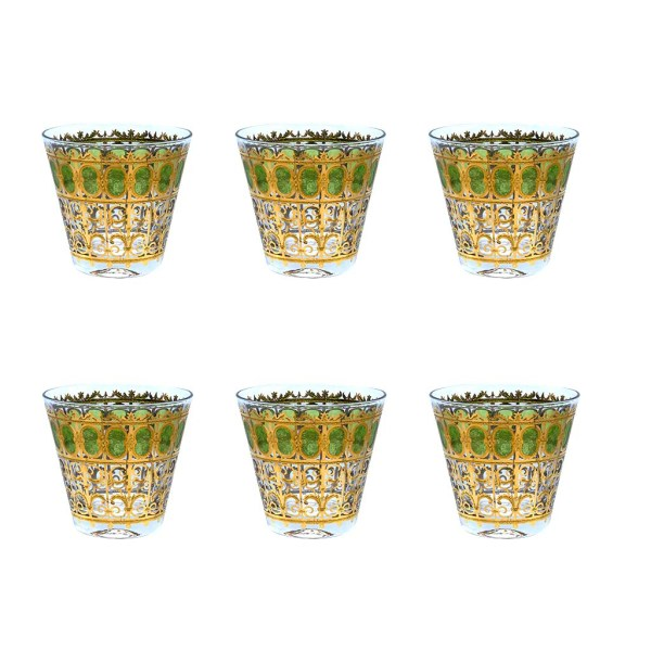 """Culver """"Green Scroll"""" Green & 22k Gold Double Old Fashioned Glasses, Set of Six (6)"""