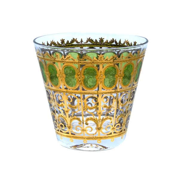 """Culver """"Green Scroll"""" Green & 22k Gold Double Old Fashioned Glass"""