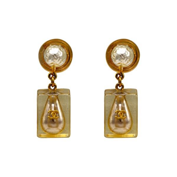 "Chanel 1 5/8"" Pearls Encased in Acrylic Dangle Earrings, Spring 1997"
