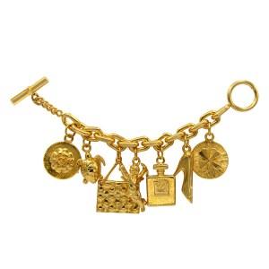 Chanel Chunky Gilt Iconic Charm Bracelet, 1970