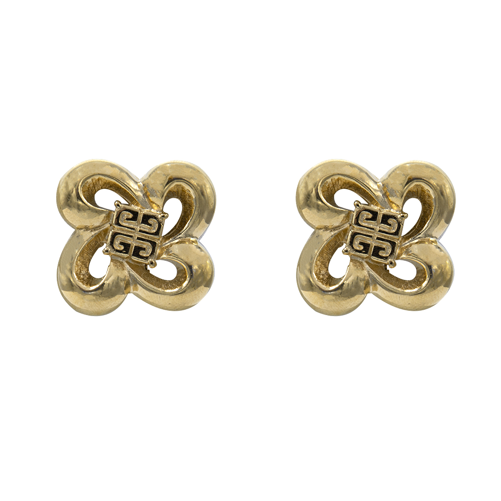 Givenchy Quatrefoil Earrings with Logo Center, 1990
