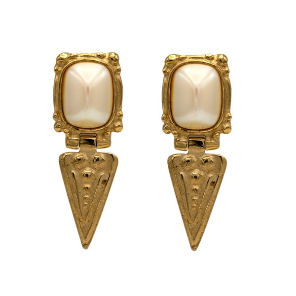 Gilt Pearl Top Triangle Dangle Earrings, 1990