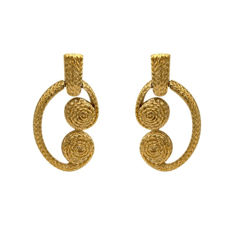Givenchy Gilt Keystone & Coil Earrings, 1990