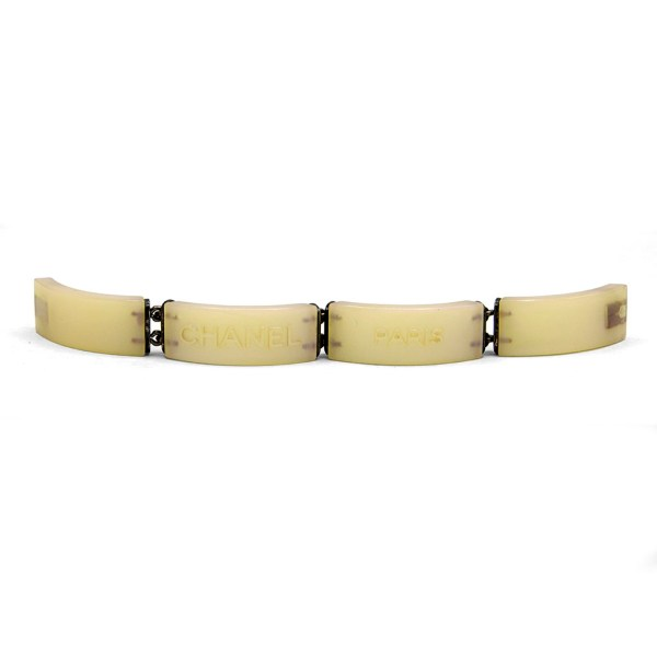 Chanel Pearlescent Acrylic Bracelet, Cruise 2000 - unlatched