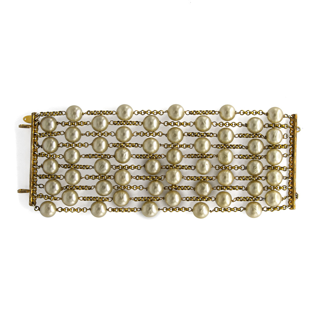 Chanel Ten Strand Gilt Pearl Bracelet, 1990