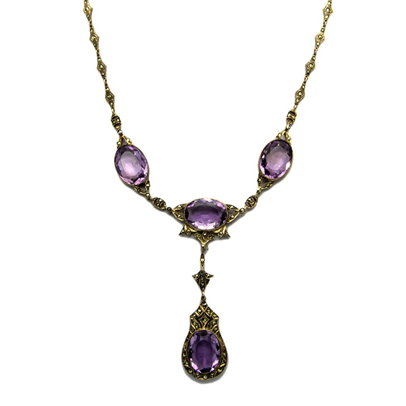 German Sterling Marcasite Necklace with Amethyst Paste Pendant, 1920
