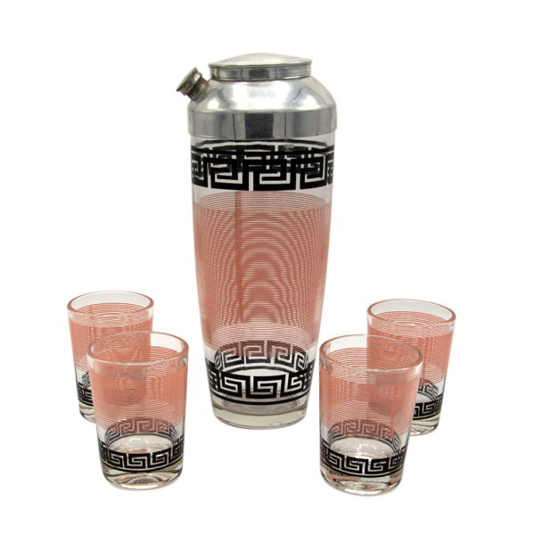 "Hazel Atlas Black & Pink ""Greek Key"" Shaker & Four (4) Tumbler Glasses"