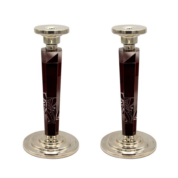Karl Palda Burgundy & White Enameled Cut Crystal Candle Holders