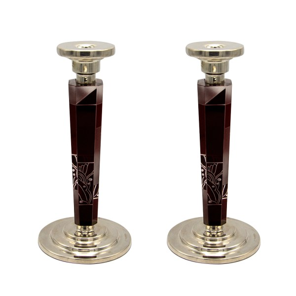 Karl Palda Burgundy & White Enameled Cut Crystal Candle Holders