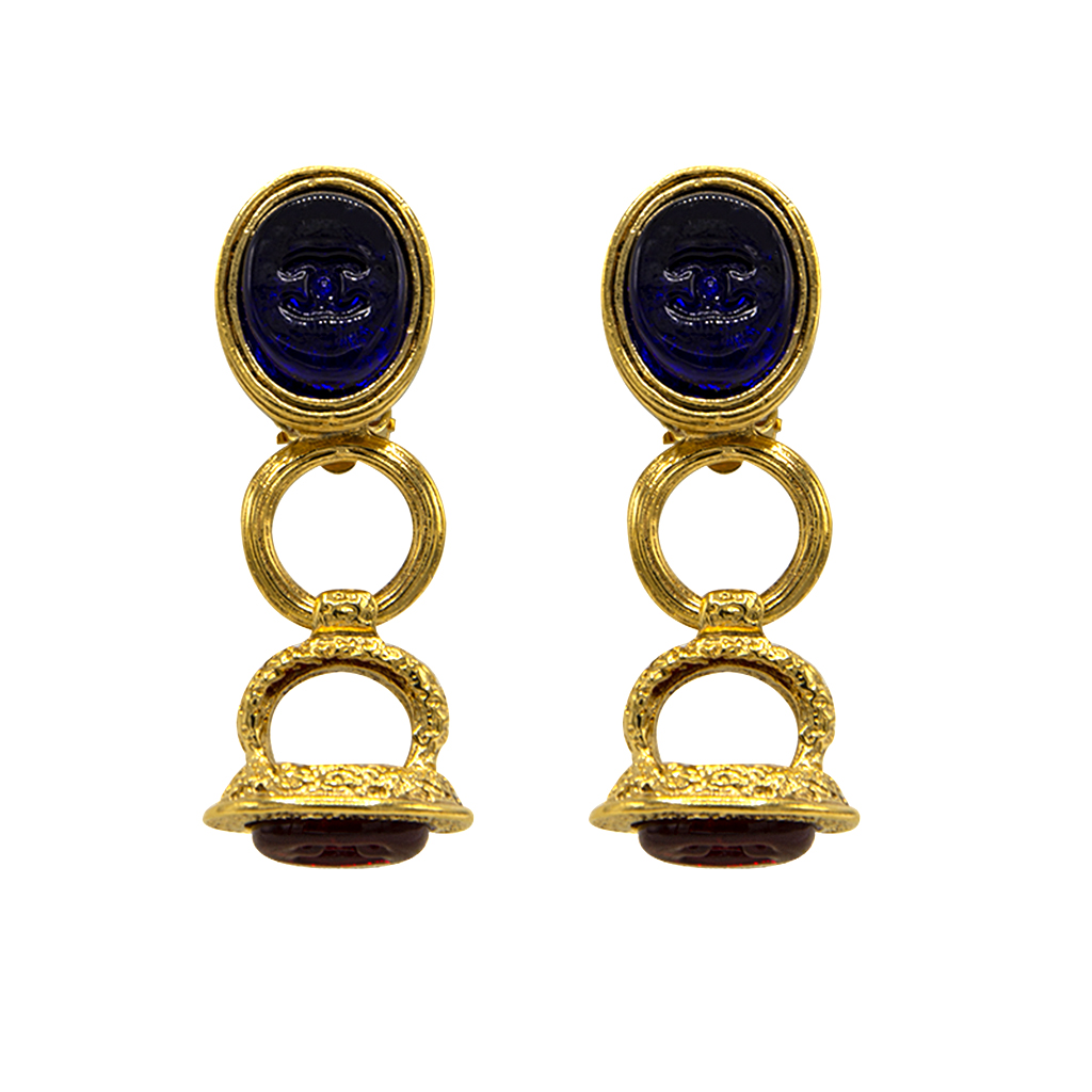 "Rare 2 1/8"" Chanel Sapphire & Ruby Gripoix Earrings, Autumn 1993"