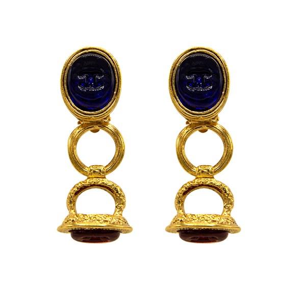 "Rare 2 1/8"" Chanel Sapphire & Ruby Gripoix Earrings, Autumn 1993"