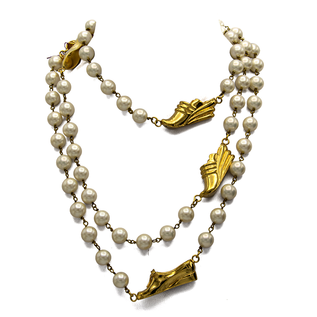 Ferragamo Long Pearl Chain with 6 Gilt Shoe Charms, 1990