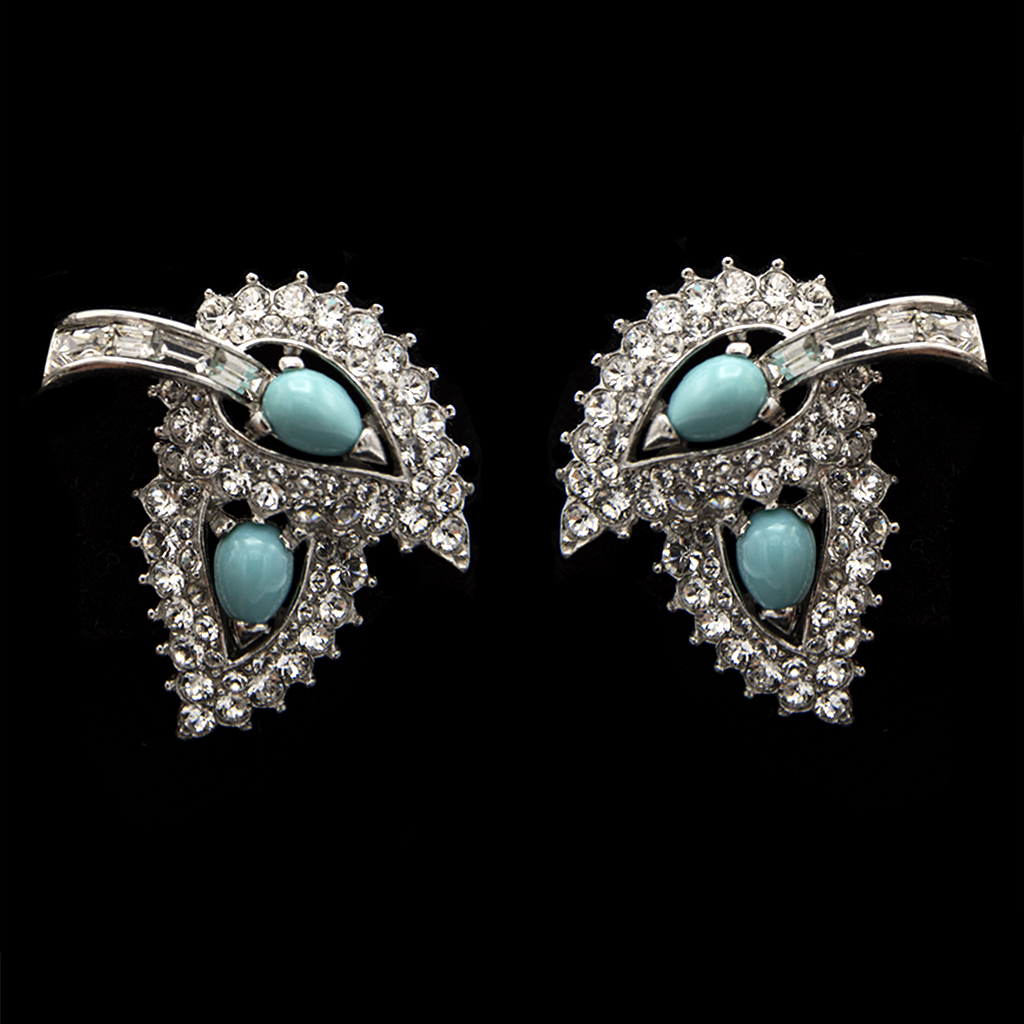 Boucher Rhodium Plated Faux Turquoise & Paste Leaf Cluster Earrings, 1965