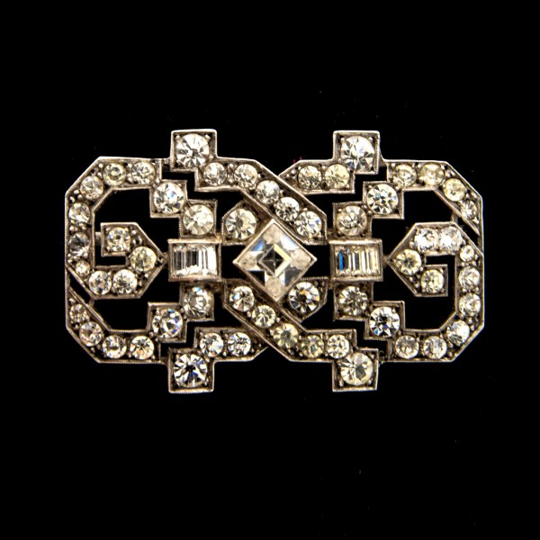"""French Art Deco 2"""" Sterling & Paste Openwork Brooch, 1925"""